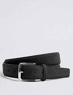 Faux Suede Stitch Detail Belt, BLACK, catlanding