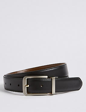 Leather Buckle Reversible Belt, BLACK/BROWN, catlanding