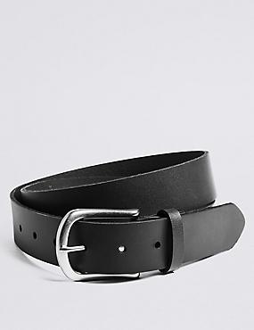 Leather Buckle Casual Belt, BLACK, catlanding