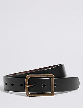 Leather Casual Cut Edge Buckle Belt, BROWN, catlanding