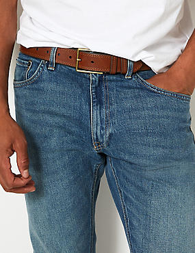 Leather Stitch Detail Casual Belt, TAN, catlanding