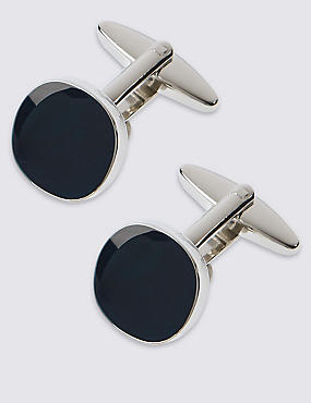 Square Navy Centre Cufflinks