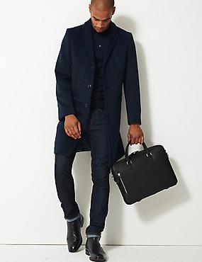 Textured Saffiano Slim Briefcase, BLACK, catlanding