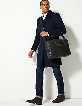 Pebble Grain Leather Double Zip Briefcase, BLACK, catlanding