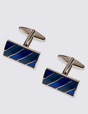 Horizontal Tonal Striped Cufflinks