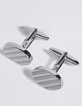 Oval Striped Cufflinks