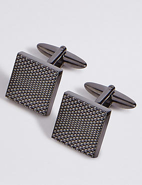 Metal Textured Cufflinks, GUNMETAL, catlanding