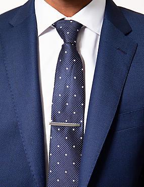 Horizontal Stripe Tie Clip, SILVER, catlanding