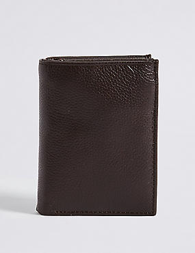 Leather Slim Tri Fold Id Wallet with Cardsafe™