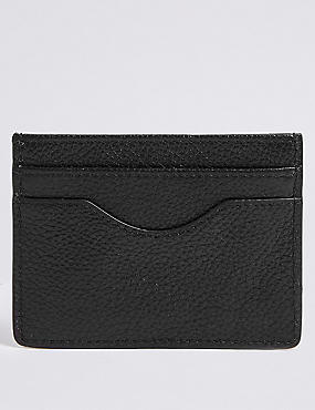Pebble Grain Leather Card Wallet, BLACK, catlanding