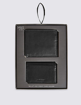 Leather Bi Fold Wallet & Credit Card Set