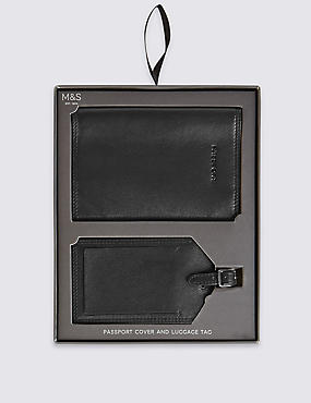 Leather Passport Cover & Luggage Tag Set