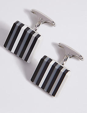Black Stripe Resin Cufflinks