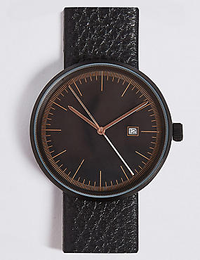 mens watches leather strap analogue watches for men m s modern round date watch