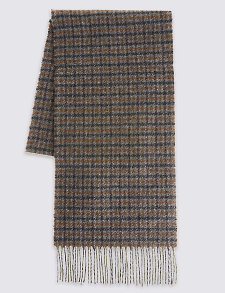 Pure Wool Mini Checked Scarf