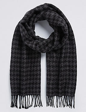 Wool Blend Wider Width Dogstooth Woven Scarf