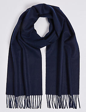 Pure Cashmere Woven Scarf, NAVY, catlanding