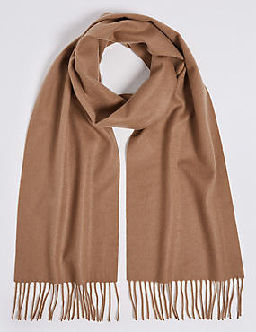 Pure Cashmere Woven Scarf, CAMEL MIX, catlanding