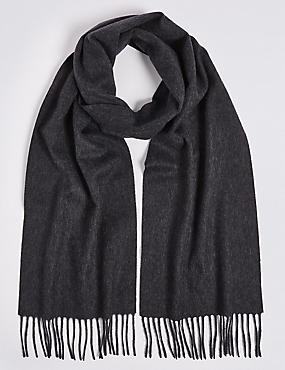 Pure Cashmere Woven Scarf, CHARCOAL, catlanding