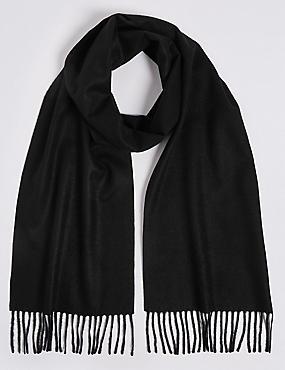 Pure Cashmere Woven Scarf, BLACK, catlanding