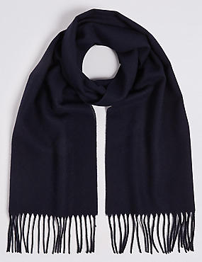Brushed Woven Scarf, NAVY, catlanding