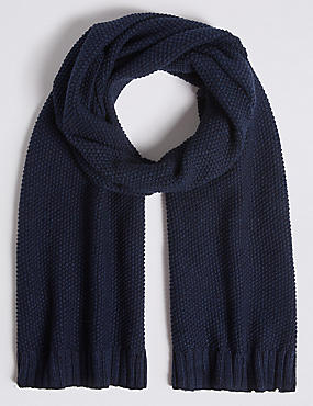 Textured Pure Cotton Knitted Scarf