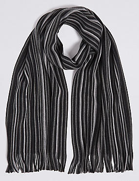 Striped Rochelle Scarf, CHARCOAL MIX, catlanding