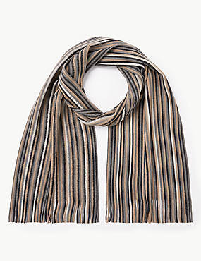 Striped Rochelle Scarf, NATURAL MIX, catlanding