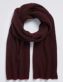 Pure Cashmere Knitted Rib Scarf