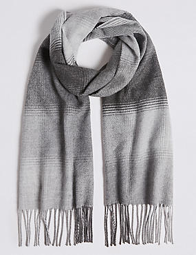 Ombre Check Wider Width Woven Scarf