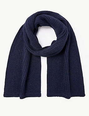 Knitted Scarf, NAVY, catlanding