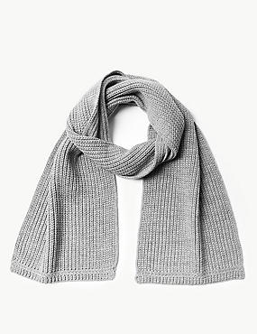 Knitted Scarf, GREY, catlanding