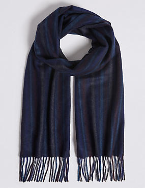 Pinstripe Pure Cashmere Woven Scarf