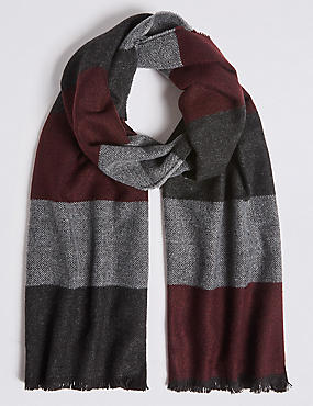 Colour Block Wider Width Woven Scarf