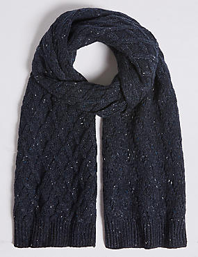 Nepped Cable Knitted Scarf