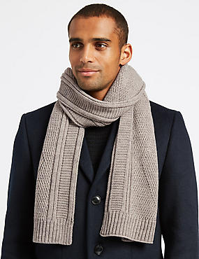 Cable Knitted Scarf, , catlanding