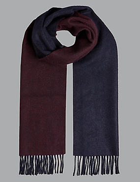 Pure Cashmere Reversible Scarf , BURGUNDY, catlanding