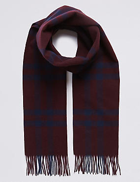 Pure Merino Wool Checked Scarf, RUM, catlanding