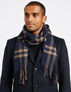 Pure Merino Wool Checked Scarf, DARK INK, catlanding