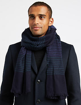 Striped Scarf with Wool, BLUE MIX, catlanding