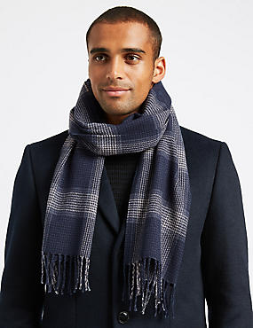 Checked Scarf with wool, NAVY MIX, catlanding