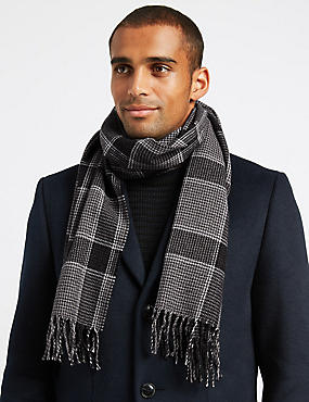 Checked Scarf with wool, BLACK MIX, catlanding