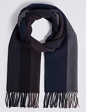 Vertical Herringbone Scarf with Wool, , catlanding