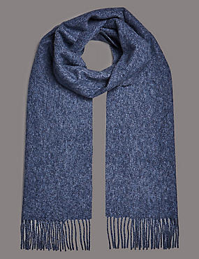 Pure Cashmere Wider Width Scarf, BLUE MIX, catlanding
