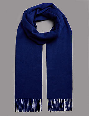 Pure Cashmere Wider Width Scarf, ROYAL BLUE, catlanding