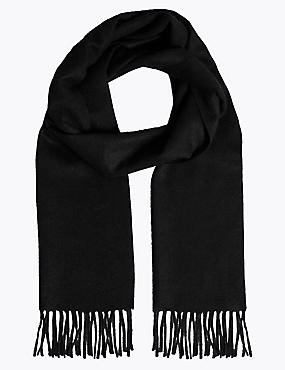 Pure Cashmere Wider Width Scarf, BLACK, catlanding