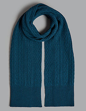 Pure Cashmere Cable Scarf , MIDNIGHT, catlanding