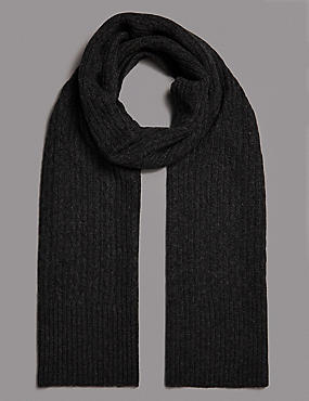 Pure Cashmere Cable Scarf , CHARCOAL, catlanding