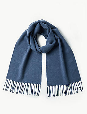 Brushed Woven Scarf, BLUE, catlanding
