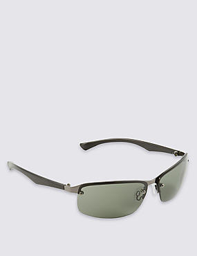 Rimless Rectangular Wrap Sunglasses
